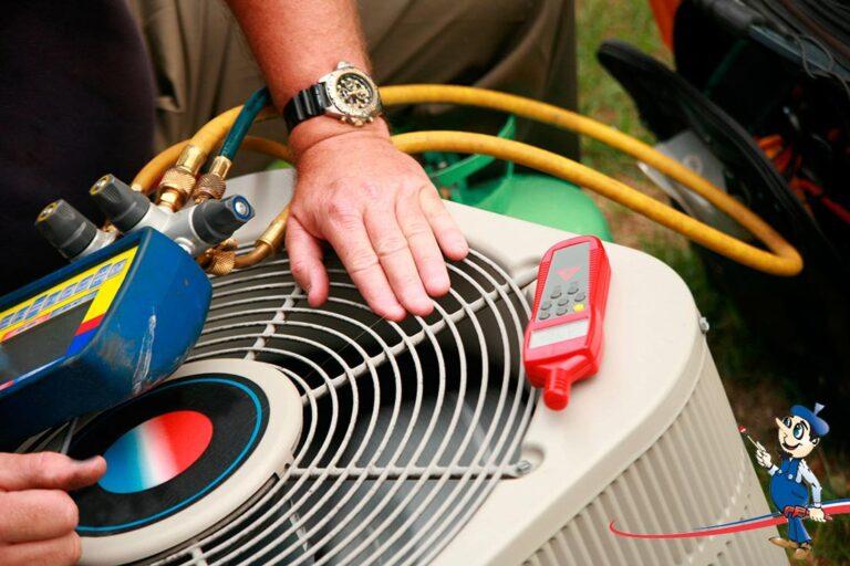 HVAC technician performing AC repair